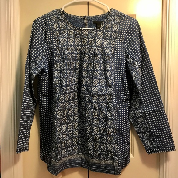 J. Crew Tops - J. Crew Bleached-Out Indigo Top Size 4 NWOT